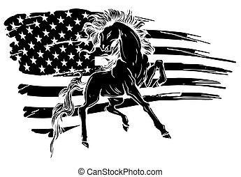 Grunge flag background, wild horse, vector illustration black silhouette