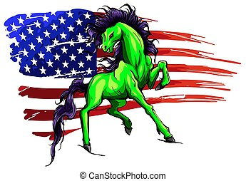 Grunge flag background, wild horse, vector illustration
