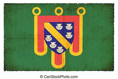 Grunge flag Cantal (France)