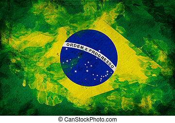 Grunge flag of Brasil, illustration is overlaying a grungy...