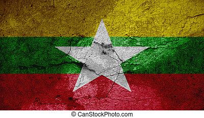 Grunge flag of Burma