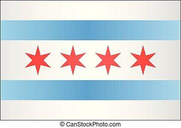 Grunge flag of Chicago