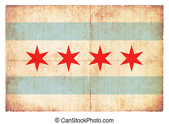 Grunge flag of Chicago (USA)