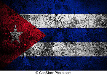 grunge flag of Cuba with capital in Havana