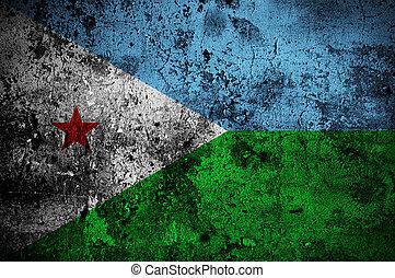grunge flag of Djibouti with capital in Djibouti