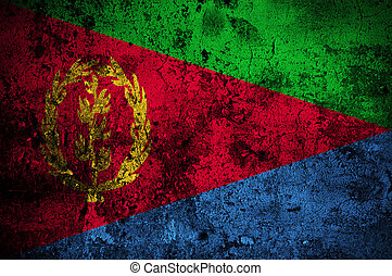 grunge flag of Eritrea with capital in Asmara
