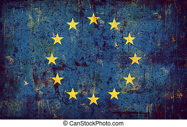 Computer designed highly detailed grunge textured illustration of the flag of European union