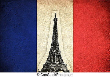 Grunge Flag of France with Eiffel Tower