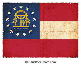 Flag of the US state Georgia created in grunge style