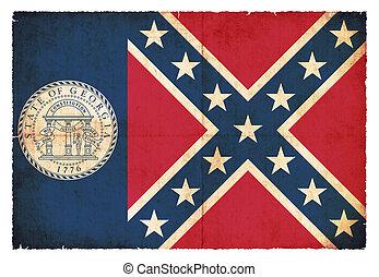 Grunge flag of Georgia (USA)