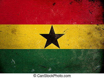 The flag of Ghana on old and vintage grunge texture