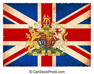Grunge flag of Great Britain with emblem - National Flag of...