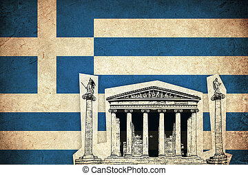 Grunge Flag of Greece with monument