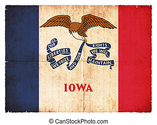 Grunge flag of Iowa (USA)