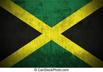 weathered flag of Jamaica, paper textured