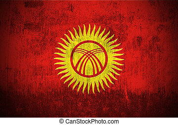 Grunge Flag Of Kyrgyzstan