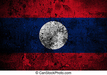 grunge flag of Laos with capital in Vientiane