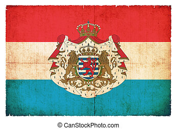 Grunge flag of Luxembourg with coat of arms