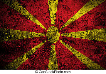grunge flag of Macedonia with capital in Skopje