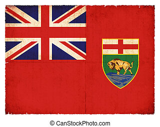 Grunge flag of Manitoba (Canadian province) - Flag of the...