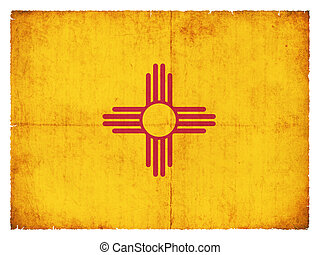 Flag of the US state New Mexico created in grunge style