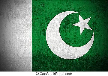 Grunge Flag Of Pakistan - Weathered Flag Of Pakistan, fabric...