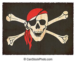 Grunge flag of pirates - Flag of Tierra del Fuego (Argentina...