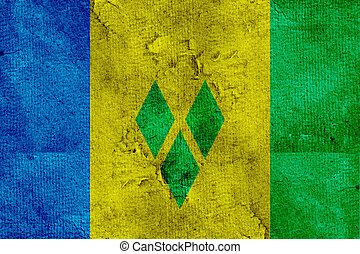 Grunge flag of Saint Vincent and Grenadines