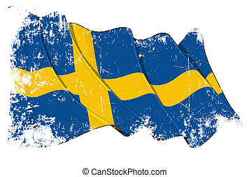 Grunge Flag of Sweden - Grunge waving flag with clipping...