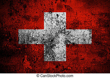 grunge flag of Switzerland with capital in Bern