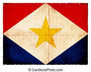 Grunge flag of the Caribbean island Saba