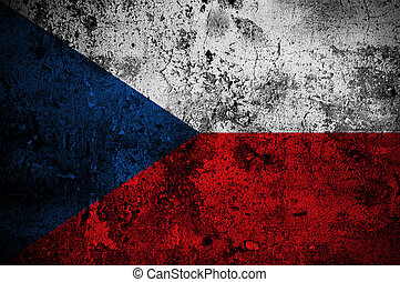 grunge flag of The Czech Republic with capital in Prague