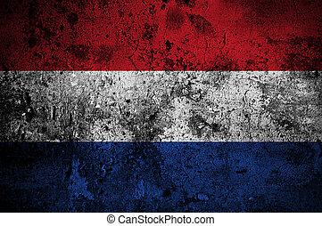 grunge flag of The Netherlands with capital in Amsterdam