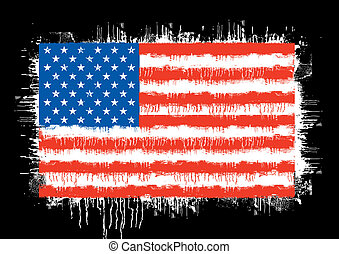 grunge flag of the united states of america isolated on...