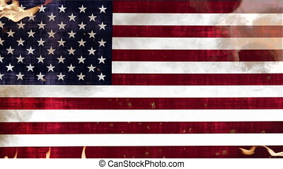 Grunge Flag of USA in Fire