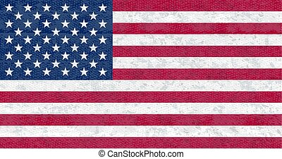 Grunge flag of USA. Isolated American banner with scratched texture on denim fabric.