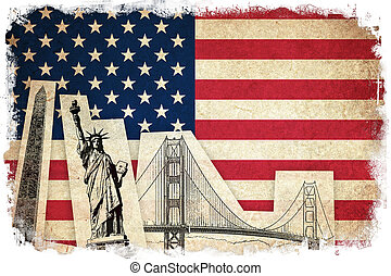 Grunge Flag of USA with monuments