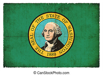 Grunge flag of Washington (USA)