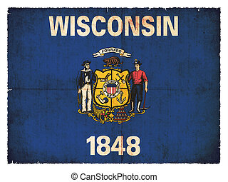 Grunge flag of Wisconsin (USA)