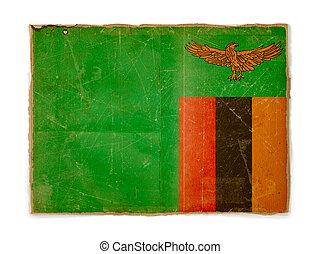 grunge flag of Zambia