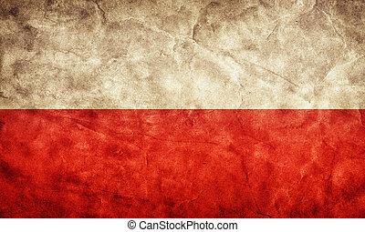 grunge, flag., polen, årgång, sak, flaggan, retro, ...