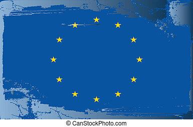 Grunge flag series-European Union, vector illustration