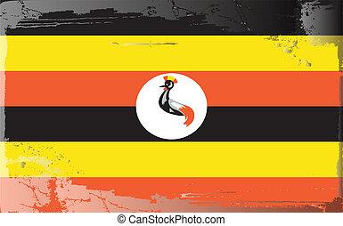 Grunge flag series-Uganda, vector illustration