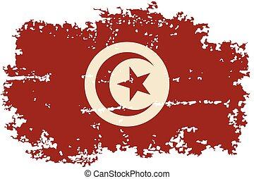 grunge, flag., vector, tunecino, illustration.