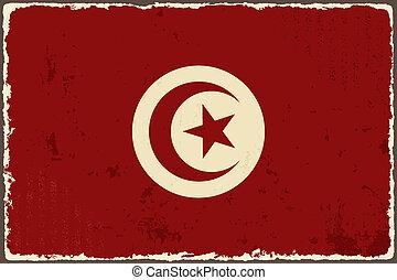 grunge, flag., vector, tunecino, ilustración