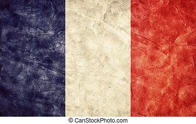 grunge, flag., weinlese, frankreich, posten, flaggen, retro,...