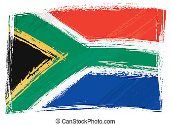 grunge, flagga, afrika, syd