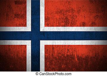 grunge, flagga, av, norge