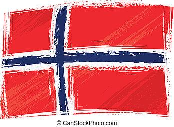 grunge, flagga, norge