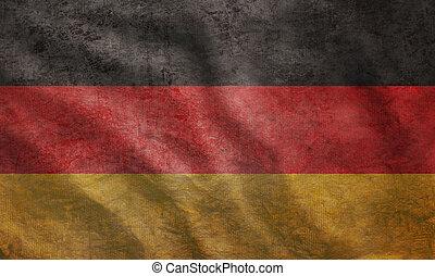 grunge, flagga, ojämn, tyskland